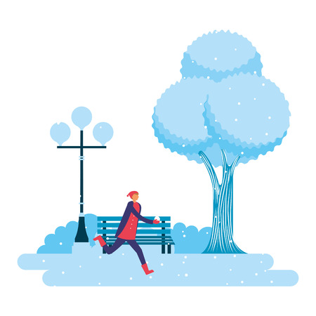 man playing with ball snow park winter scenery vector illustration