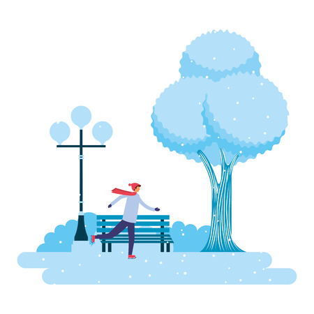 man skating ice in the park winter scenery vector illustration