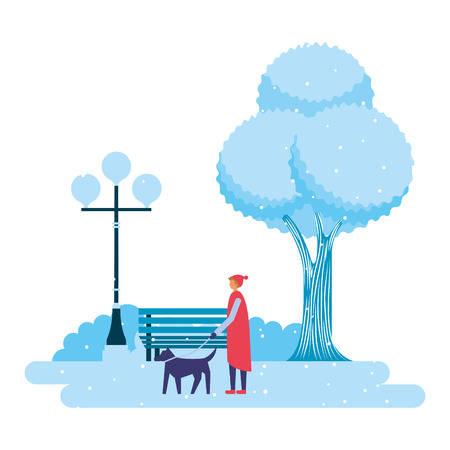 man with dog pet park winter scenery vector illustration