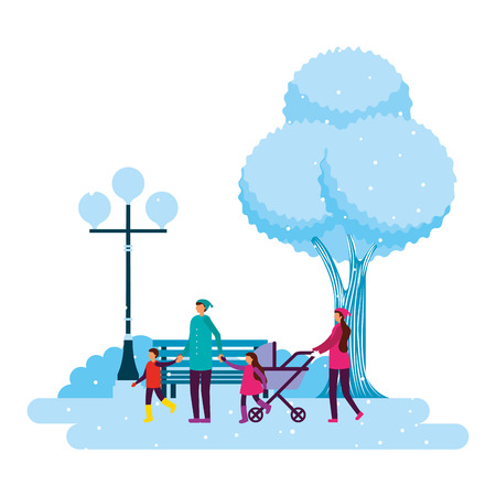 happy family in the park winter scenery vector illustration