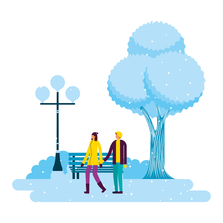 couple holding hands in the park winter scenery vector illustration