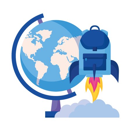 globe rocket backpack education school vector illustration Иллюстрация