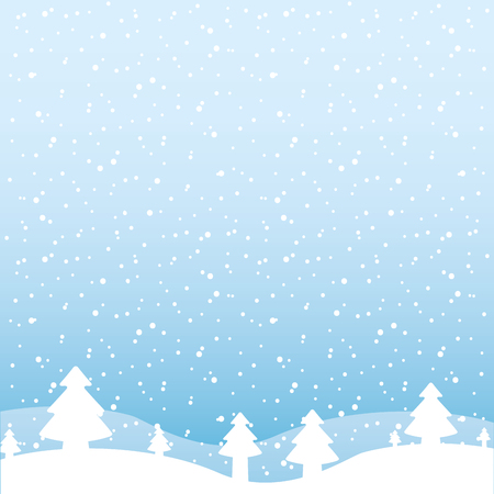 winter landscape snow tree forest vector illustration