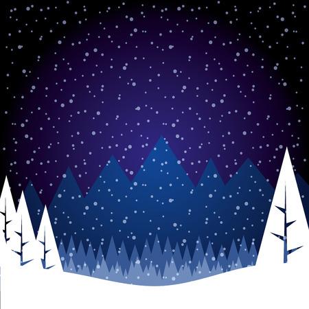paysage d'hiver neige arbre forêt montagnes vector illustration Vecteurs