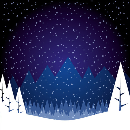 winter landscape snow tree forest mountains vector illustration Иллюстрация