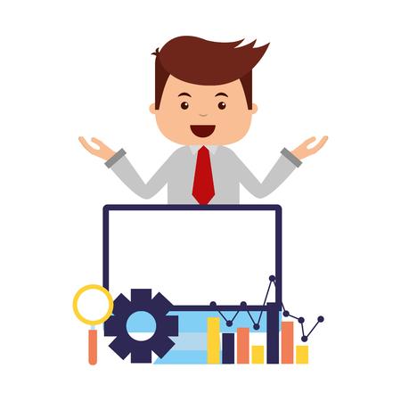 businessman mobile diagram search engine optimization vector illustration