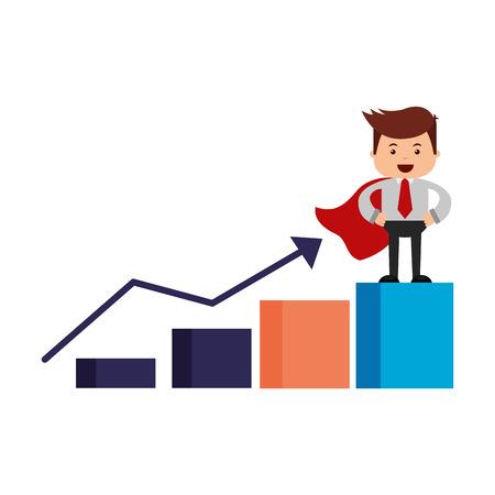 businessman on statistics bar growth search engine optimization vector illustration