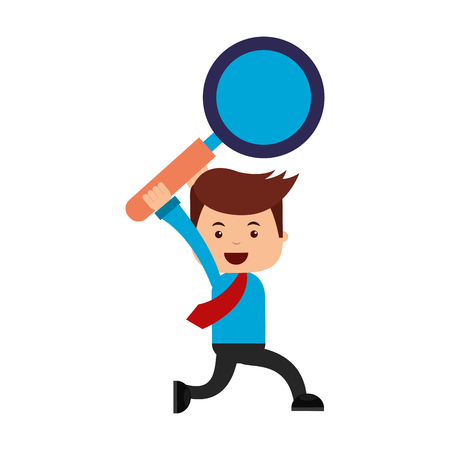 businessman with magnifying glass search engine optimization vector illustration Illustration