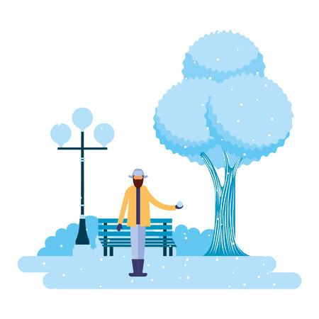 man holding ball snow in the park winter scenery vector illustration Illustration