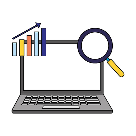 laptop diagram analysis search engine optimization vector illustration
