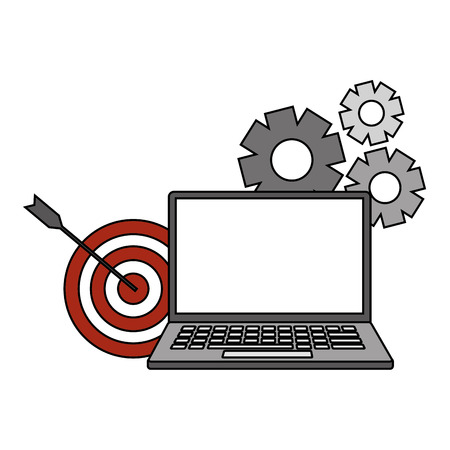 laptop target gears search engine optimization vector illustration Иллюстрация