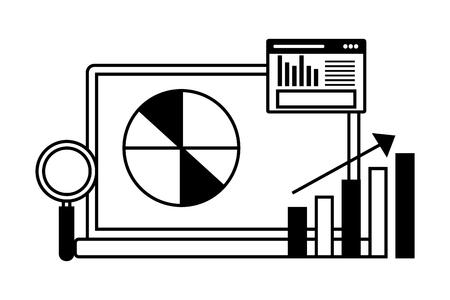 laptop statistics website search engine optimization vector illustration