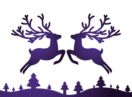 silhouette deer trees card decoration vector illustration