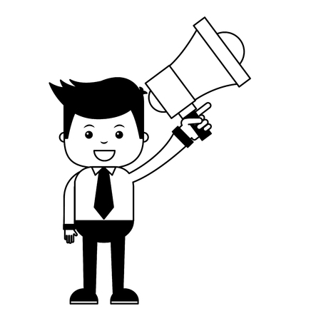 businessman with megaphone search engine optimization vector illustration