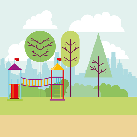 park city playground tree nature vector illustration
