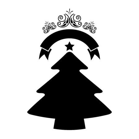 merry christmas decoration pine tree ribbon vector illustration Standard-Bild - 127604314