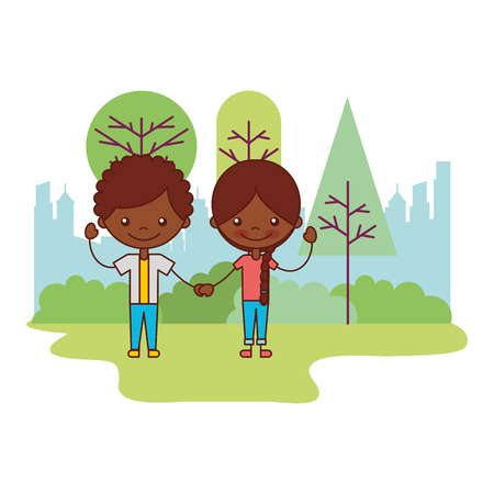 cute boy and girl in the park vector illustration