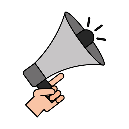 hand holding megaphone advertising media vector illustration