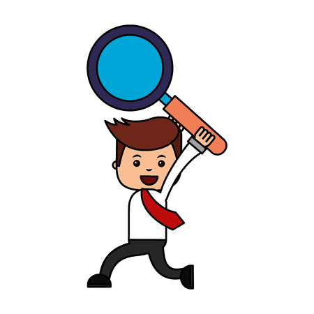 businessman with magnifying glass search engine optimization vector illustration Çizim