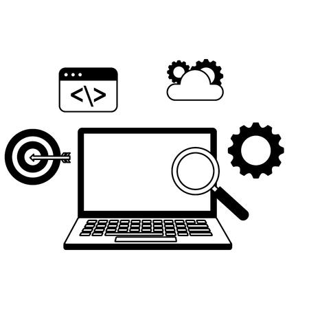 laptop analysis target cloud search engine optimization vector illustration