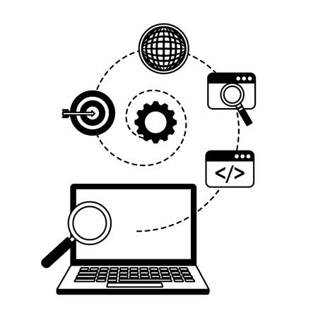 laptop analysis search engine optimization vector illustration