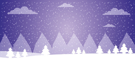 winter ladscape snow tree forest vector illustration