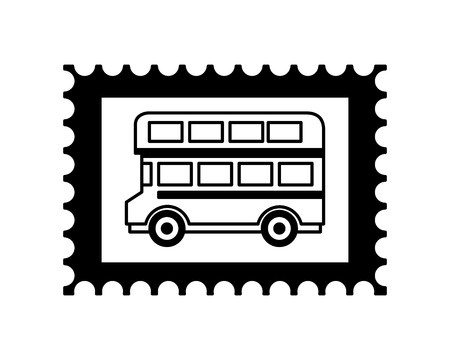postage stamp london double decker vector illustration