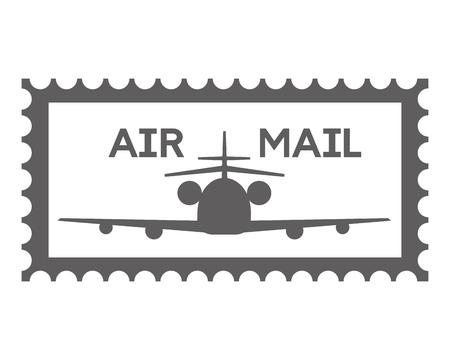 Briefmarke Luftpost Flugzeug Vektor-Illustration Vektorgrafik