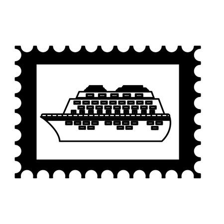 postage stamp cruise ship on white background vector illustration Illustration