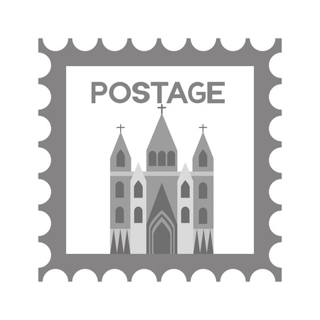 postage stamp london church famous vector illustration Stock Vector - 127560979