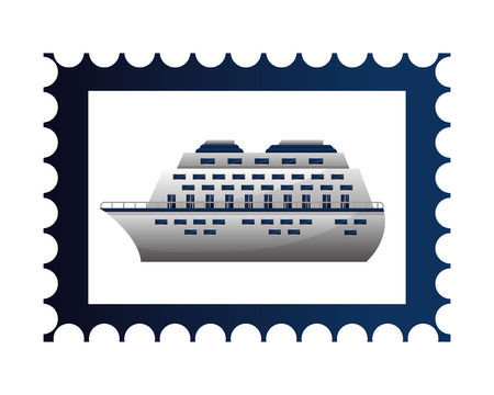 postage stamp cruise ship on white background vector illustration Illustration