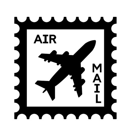 postage stamp air mail airplane vector illustration