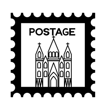 postage stamp london church famous vector illustration Stock Vector - 127560997