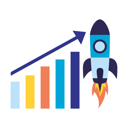 chart rocket launching search engine optimization vector illustration
