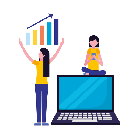 women using mobile chart laptop search engine optimization vector illustration