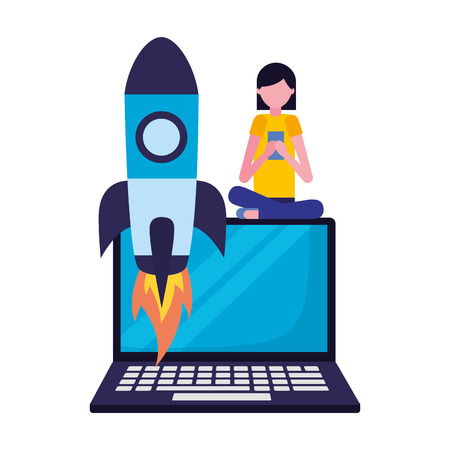 woman with mobile rocket and laptop search engine optimization vector illustration Фото со стока - 127561007
