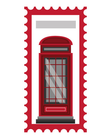 postage stamp london telephone booth vector illustration