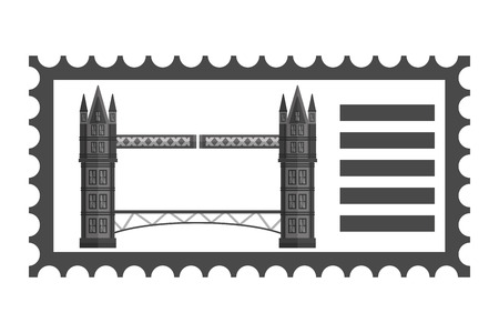 postage stamp london bridge landmark vector illustration