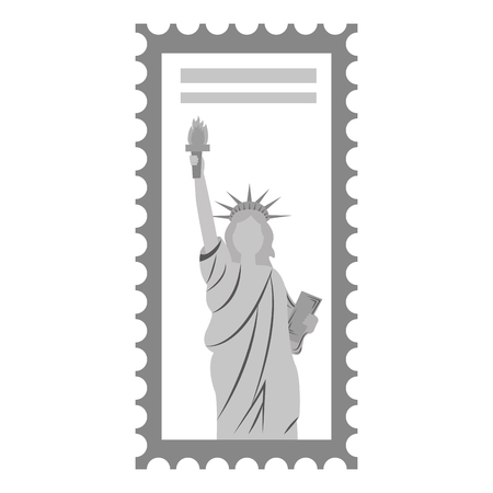 postage stamp american statue of liberty vector illustration