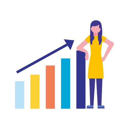 woman with statistics diagram search engine optimization vector illustration