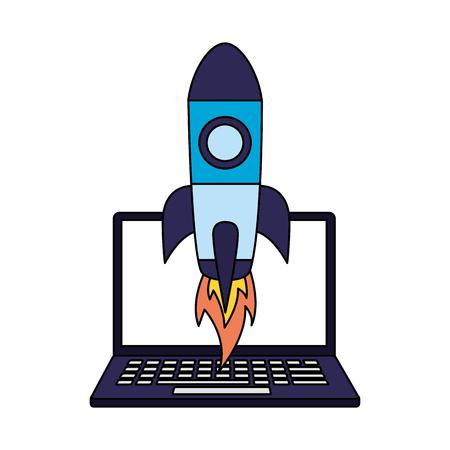 laptop rocket startup search engine optimization vector illustration