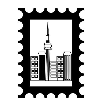 postage stamp city landmark famous vector illustration Illustration