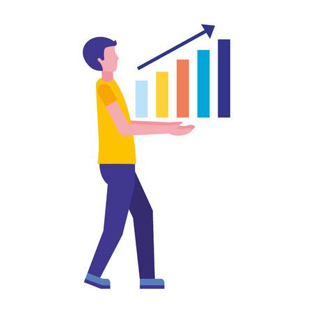 man with statistics chart search engine optimization vector illustration Иллюстрация