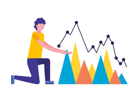 man with statistics chart search engine optimization vector illustration 向量圖像