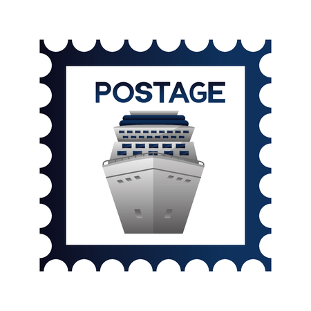 postage stamp cruise ship on white background vector illustration Ilustração