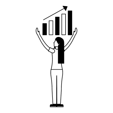 woman with statistics diagram search engine optimization vector illustration Banque d'images - 127561064