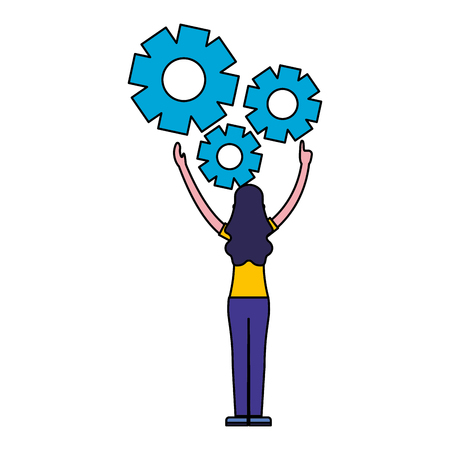 woman with gears settings work vector illustration