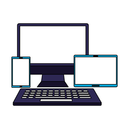computer keyboard mobile and tablet vector illustration
