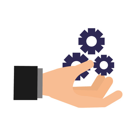 hand with gears search engine optimization vector illustration Banco de Imagens - 127561088