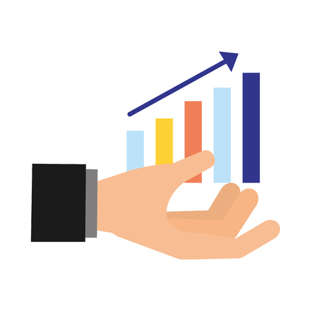 hand with statistics bar search engine optimization vector illustration